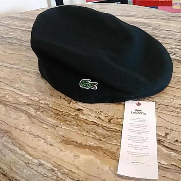 31c56afbe6 Lacoste Men's Pique Cotton Flat Cap Black NWT